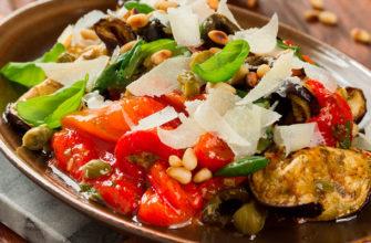 Салат из баклажанов с лососем